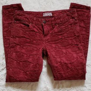 Free People Textured Jeans womens 28 Skinny Red